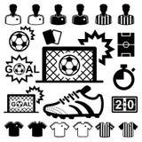 Geplaatste voetbalpictogrammen. Stock Foto