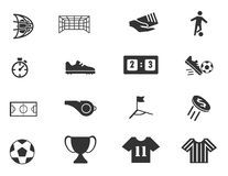 Geplaatste voetbalpictogrammen Stock Afbeelding