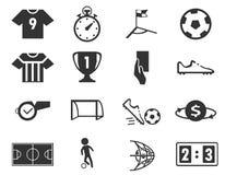 Geplaatste voetbalpictogrammen Stock Foto's