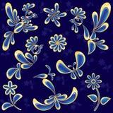 Geplaatste vogels en bloemen (vector, CMYK) Stock Foto's