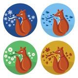 Geplaatste vos en seizoenen Royalty-vrije Stock Afbeelding