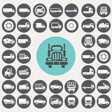 Geplaatste vrachtwagenpictogrammen Royalty-vrije Stock Foto's