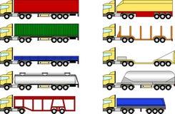 Geplaatste vrachtwagens en aanhangwagens Stock Afbeeldingen