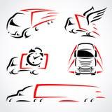 Geplaatste vrachtwagens. Vector royalty-vrije illustratie