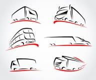 Geplaatste vrachtwagens Vector Royalty-vrije Stock Afbeelding