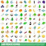 100 geplaatste vredespictogrammen, isometrische 3d stijl Royalty-vrije Stock Fotografie