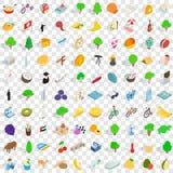100 geplaatste vredespictogrammen, isometrische 3d stijl Royalty-vrije Stock Foto's