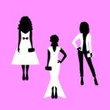Geplaatste vrouwen modelsilhouetten vector illustratie