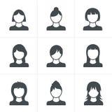 Geplaatste vrouwenpictogrammen Stock Foto's