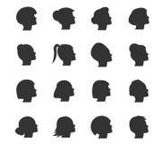 Geplaatste vrouwenpictogrammen Stock Afbeelding