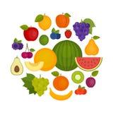 Geplaatste vruchten en groenten Organisch en Gezond voedsel Vlakke stijl, royalty-vrije illustratie
