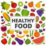 Geplaatste vruchten en groenten Organisch en Gezond voedsel Vlakke stijl, stock illustratie