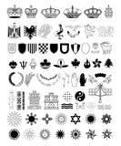 Geplaatste wapenschildelementen, vectorillustratie Stock Afbeeldingen