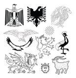 Geplaatste wapenschildelementen, vectorillustratie Royalty-vrije Stock Fotografie