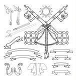 Geplaatste wapenschildelementen, vectorillustratie Royalty-vrije Stock Afbeeldingen