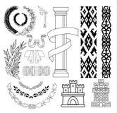 Geplaatste wapenschildelementen, vectorillustratie Royalty-vrije Stock Foto's