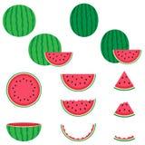 Geplaatste watermeloen vectorpictogrammen Stock Afbeeldingen