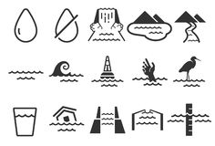 Geplaatste waterpictogrammen royalty-vrije illustratie