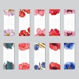 Geplaatste waterverf bloemenkaarten Royalty-vrije Stock Foto's