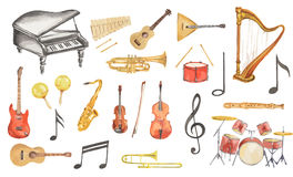 Geplaatste waterverf muzikale instrumenten Stock Foto's
