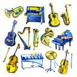 Geplaatste waterverf muzikale instrumenten Allerlei instrumenten als piano, saxofoon, trompet, trommels en anderen royalty-vrije illustratie