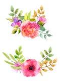 Geplaatste waterverfbloemen Royalty-vrije Stock Fotografie