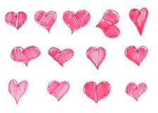 Geplaatste waterverfharten Hand getrokken abstract art. Ontwerpelement voor de Dag van Valentine ` s Stock Foto's