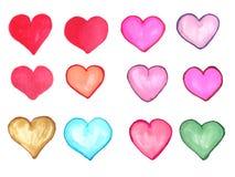 Geplaatste waterverfharten Hand getrokken abstract art. Ontwerpelement voor de Dag van Valentine ` s Royalty-vrije Stock Afbeelding
