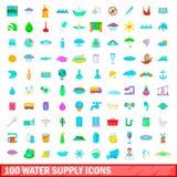 100 geplaatste watervoorzieningspictogrammen, beeldverhaalstijl Stock Foto