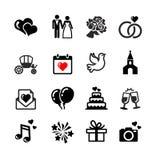 16 geplaatste Webpictogrammen. Huwelijk, liefde, viering. Stock Foto