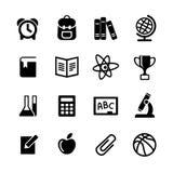 16 geplaatste Webpictogrammen. Onderwijs, school Stock Fotografie