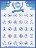 30 geplaatste websitepictogrammen, Blauwe versie Stock Foto's