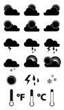 Geplaatste weerpictogrammen Stock Foto's
