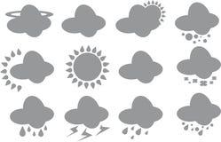 Geplaatste weerpictogrammen Stock Afbeeldingen