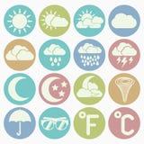 Geplaatste weerpictogrammen Stock Afbeelding