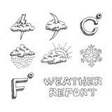 Geplaatste weerpictogrammen. Hand getrokken schets. Vectoreps8 Stock Foto's