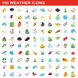 100 geplaatste weerpictogrammen, isometrische 3d stijl royalty-vrije illustratie
