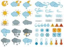 Geplaatste weersymbolen en pictogrammen Stock Foto's