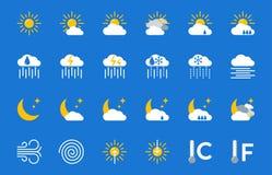 Geplaatste weervoorspellings vectorpictogrammen stock illustratie