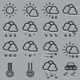 Geplaatste weervoorspellingspictogrammen. Royalty-vrije Stock Foto