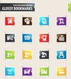 Geplaatste werktuigmachinepictogrammen Royalty-vrije Stock Afbeelding