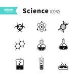Geplaatste wetenschapspictogrammen Stock Foto