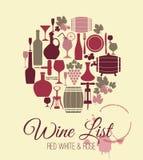 Geplaatste wijn vlakke pictogrammen Stock Foto