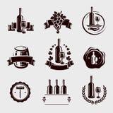Geplaatste wijnetiketten. Vector Royalty-vrije Stock Foto's