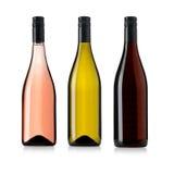 Geplaatste wijnflessen Stock Afbeeldingen