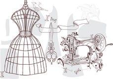 Geplaatste wijnoogst - manier en het naaien Stock Afbeelding