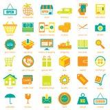 Geplaatste winkelen en logistische pictogrammen, vector Royalty-vrije Stock Afbeeldingen