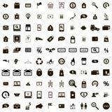 100 geplaatste winkelpictogrammen Stock Afbeeldingen