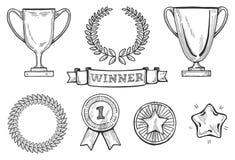 Geplaatste winnaarspictogrammen Stock Afbeelding