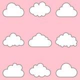 Geplaatste wolken, pictogrammen voor wolk die voor app en Web gegevens verwerken Stock Afbeeldingen